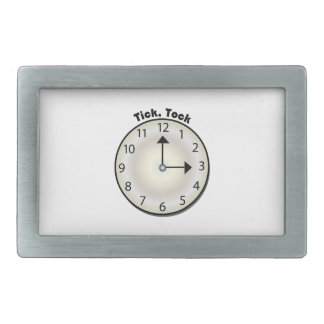 Tick Tock Rectangular Belt Buckle