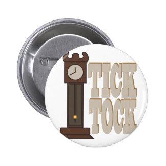 Tick Tock Clock 6 Cm Round Badge