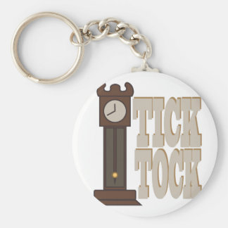 Tick Tock Clock Basic Round Button Key Ring