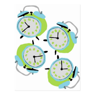 Tick tock quirky alarm clocks postcard
