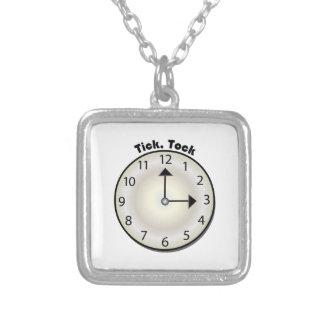 Tick Tock Square Pendant Necklace