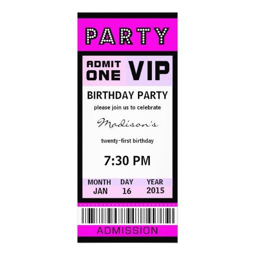 Ticket 21st Birthday Party Invitations