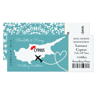 Ticket Boarding Pass Wedding Destination Cyprus Card