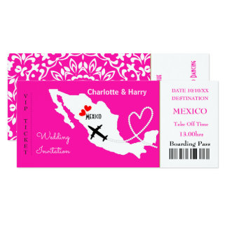 Ticket Boarding Pass Wedding Destination Mexico 10 Cm X 24 Cm Invitation Card
