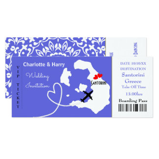 Ticket Boarding Pass Wedding Destination Santorini 10 Cm X 24 Cm Invitation Card