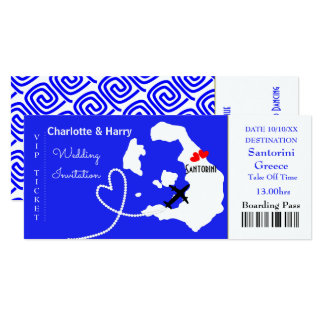 Ticket Boarding Pass Wedding Destination Santorini Card