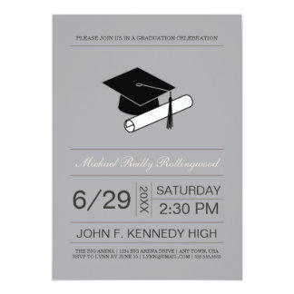 Ticket Cap & Diploma Graduation Invite: Silver Card