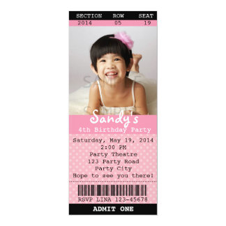 Ticket Invitation (Pink) with Photo -Theatre/Movie