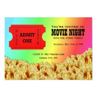 Ticket & Popcorn Movie Night Party Invitations