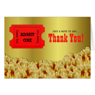 Ticket Popcorn Movie Night Thank You Note Card