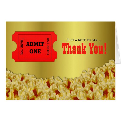 Ticket & Popcorn Movie Night Thank You Note Card