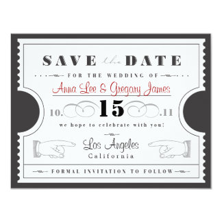 Ticket Save the Date Card