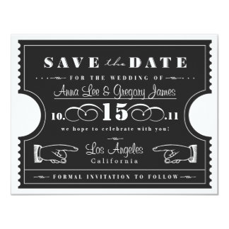 Ticket Save the Date 11 Cm X 14 Cm Invitation Card