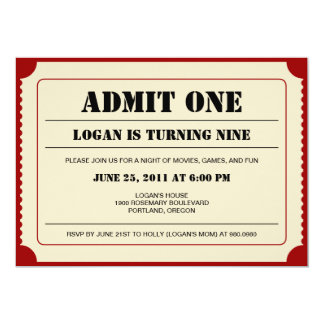 Ticket Stub Party Invitation