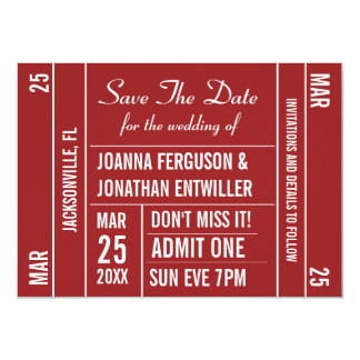 Ticket Stub (Red) Save The Date Invitation