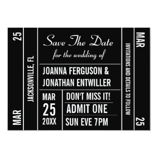 Ticket Stub Save The Date Invitation