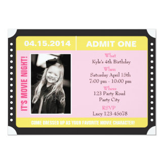 Ticket Style Invitation with Photo - Yellow Pink