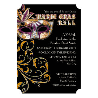 Ticket Style Mardi Gras Ball Gala Party Fundraiser Card