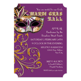 Ticket Style Mardi Gras Ball Gala Party Fundraiser Personalized Announcement