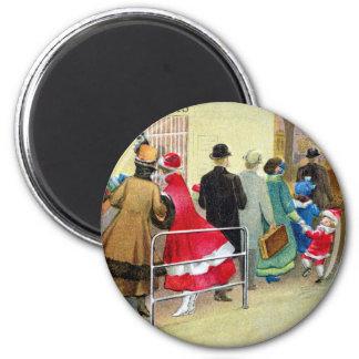 Ticket Window Queue Vintage Christmas 6 Cm Round Magnet