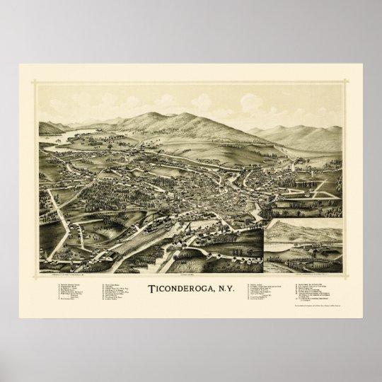 Ticonderoga, NY Panoramic Map - 1891 Poster