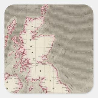 Tidal chart British Seas Square Sticker