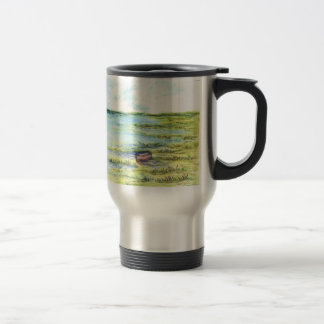 Tidal Marsh and Sky - watercolor pencil Stainless Steel Travel Mug