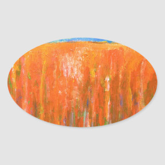 Tidal Red (abstract seascape) Oval Sticker