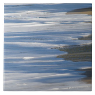 Tide on Caribbean beach Large Square Tile