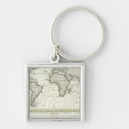 Tide-wave Atlas Map Silver-Colored Square Key Ring