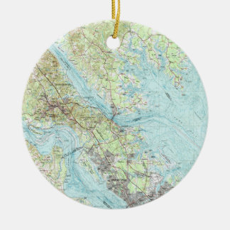 Tidewater Virginia Map (1984) Christmas Ornament