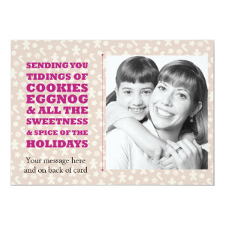 Tidings of Cookies and Eggnog Holiday Photocard 13 Cm X 18 Cm Invitation Card
