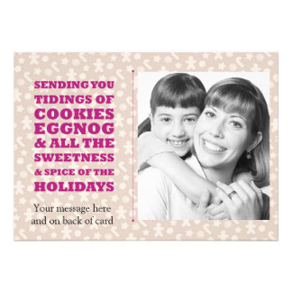 Tidings of Cookies and Eggnog Holiday Photocard Cards