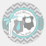 Tie, Bow Tie & Chevron Print Twin Boys Baby Shower Round Stickers