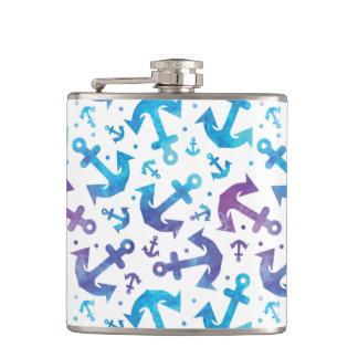 Tie Dye Anchor Pattern 2 Hip Flask