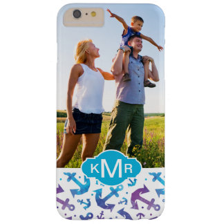 Tie Dye Anchor Pattern | Your Photo & Monogram Barely There iPhone 6 Plus Case