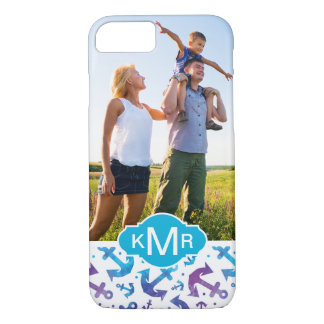 Tie Dye Anchor Pattern | Your Photo & Monogram iPhone 8/7 Case