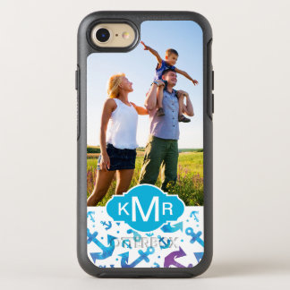 Tie Dye Anchor Pattern | Your Photo & Monogram OtterBox Symmetry iPhone 8/7 Case