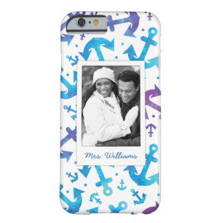 Tie Dye Anchor Pattern | Your Photo & Name Barely There iPhone 6 Case