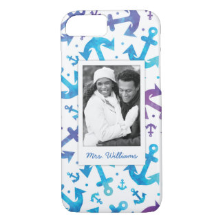 Tie Dye Anchor Pattern | Your Photo & Name iPhone 8/7 Case