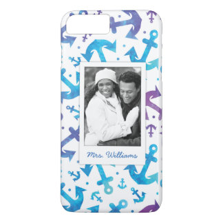 Tie Dye Anchor Pattern | Your Photo & Name iPhone 8 Plus/7 Plus Case
