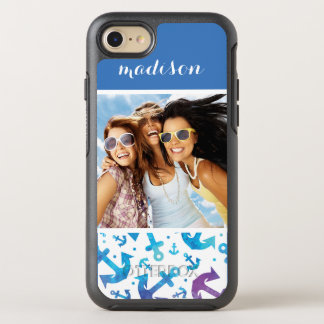 Tie Dye Anchor Pattern | Your Photo & Name OtterBox Symmetry iPhone 8/7 Case