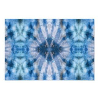 Tie Dye Blue White Radial Rays Spot Pattern Photographic Print