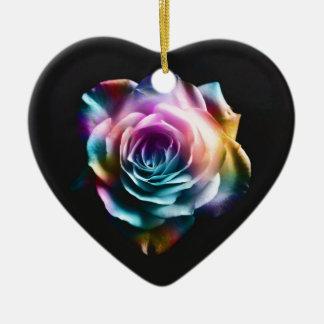 Tie Dye Colorful Rose Ceramic Heart Decoration