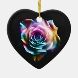 Tie Dye Colorful Rose Christmas Ornament