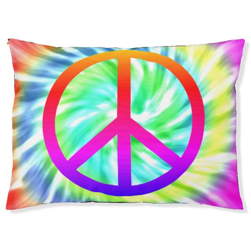 Tie Dye Design Peace Sign Dog Bed