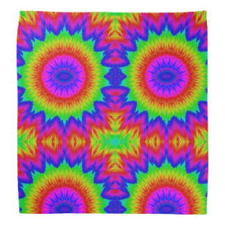 Tie dye design retro 70's art rainbow 1 bandana