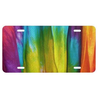 Tie-Dye Fabric Print License Plate