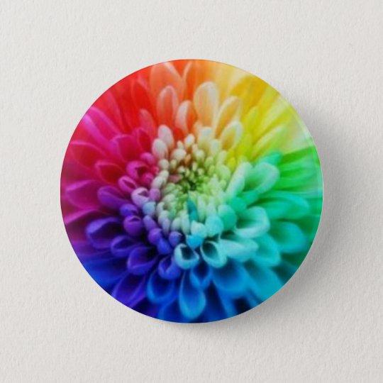 tie dye flowers 6 cm round badge