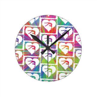 Tie Dye Gymnastics Pattern Round Clock